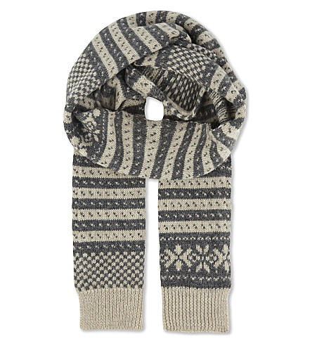 DRIES VAN NOTEN Knitted Fair Isle woollen scarf (Natural