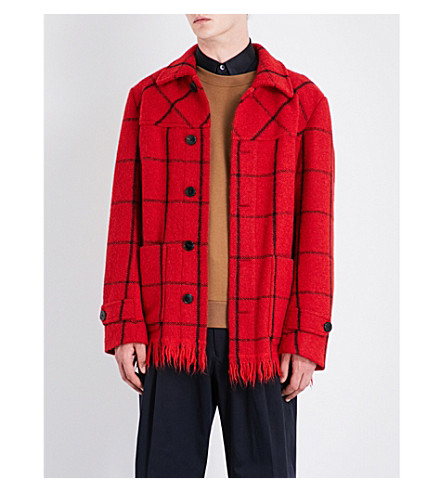 DRIES VAN NOTEN Viaan checked wool-blend coat (Red