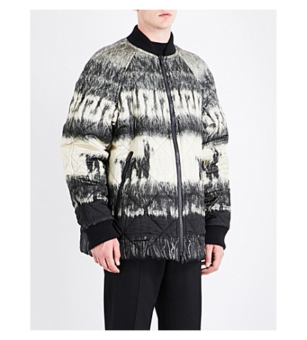 DRIES VAN NOTEN Viktor quilted shell jacket (Black+grey+white