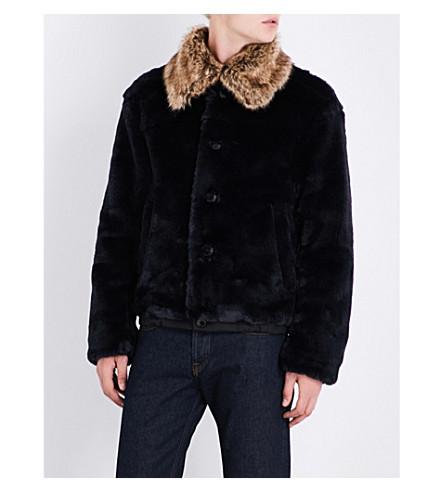 DRIES VAN NOTEN Viley faux-fur jacket (Navy+brown