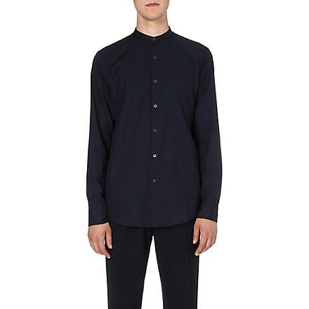 DRIES VAN NOTEN Claver granddad-collar shirt (Navy
