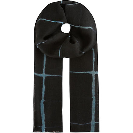 DRIES VAN NOTEN Windowpane check scarf (Blue