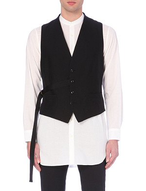DRIES VAN NOTEN Side-sashed cotton waistcoat