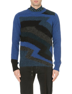 DRIES VAN NOTEN Magnet chevron knit jumper