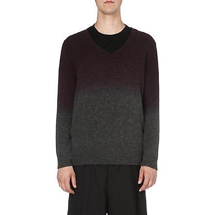DRIES VAN NOTEN Milton dip-dye knitted jumper (Grey