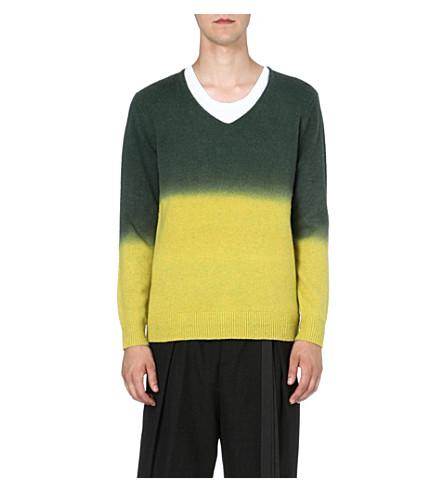 DRIES VAN NOTEN Milton dip-dye knitted jumper (Yellow