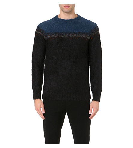 DRIES VAN NOTEN Fair Isle knitted jumper (Black