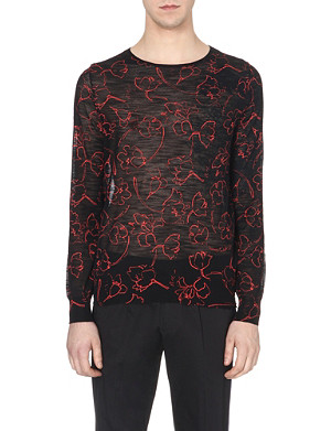 DRIES VAN NOTEN Floral print semi-sheer knitted jumper