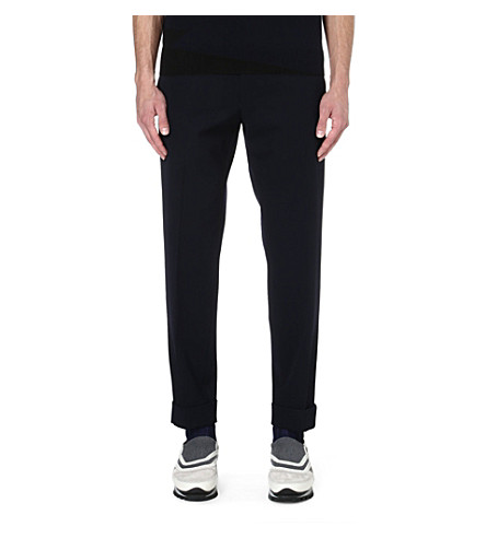 DRIES VAN NOTEN Petrie wool trousers (Navy