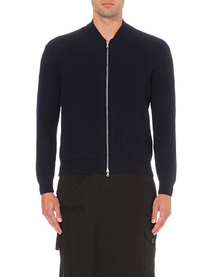 DRIES VAN NOTEN Intarsia-back zip-up cardigan