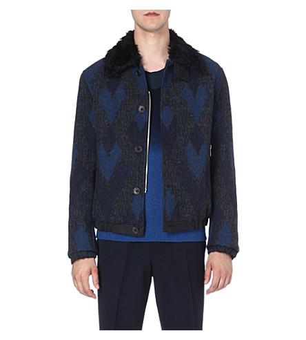 DRIES VAN NOTEN Varda wool-jaquard bomber jacket (Navy
