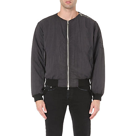 DRIES VAN NOTEN Zip detail bomber jacket (Anthracite