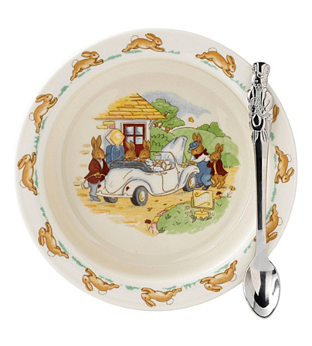 ROYAL DOULTON Bunnykins nursery feeding bowl and spoon set
