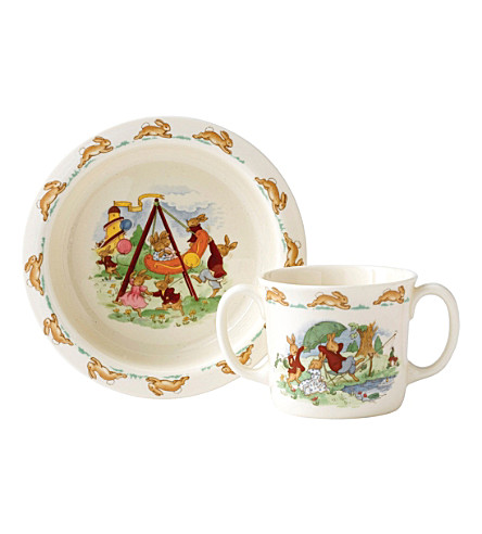 ROYAL DOULTON Bunnykins bowl and two-handled hug-a-mug baby set