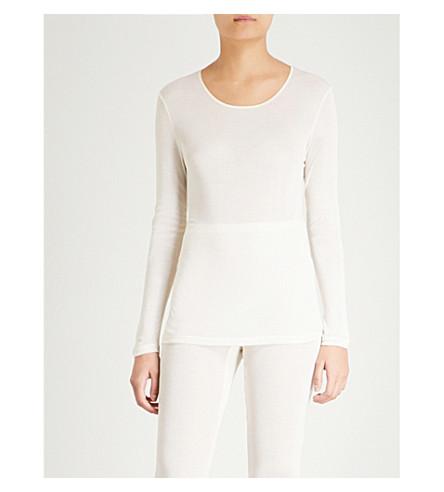 HANRO Pure Silk long-sleeved silk top (Cream
