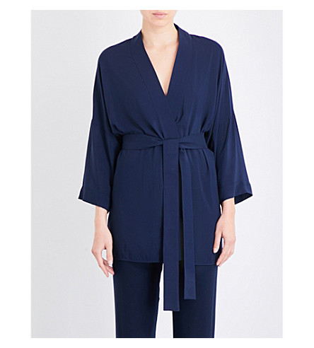HANRO Hélène woven kimono robe (Deep+midnight