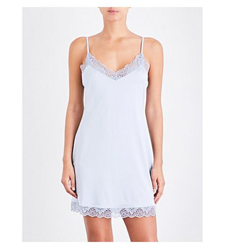 HANRO Luna satin nightdress (Muted+blue