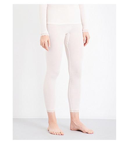 HANRO Lace-trim wool and silk-blend leggings (Vanilla