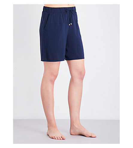 HANRO Hélène woven pyjama shorts (Deep+midnight