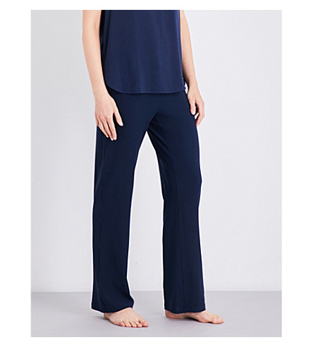 HANRO Hélène stretch-jersey pyjama bottoms (Deep+midnight