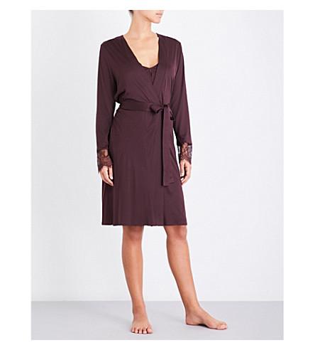 HANRO Estelle jersey robe (Aubergine