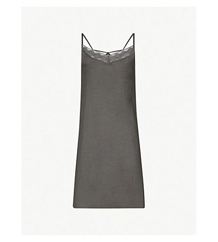HANRO Liane lace-trimmed satin dress (Black+bean