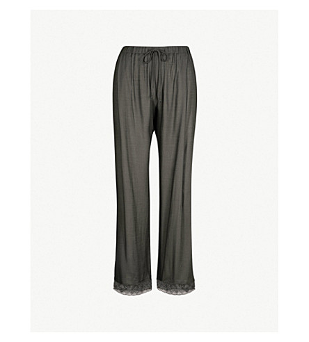 HANRO Liane lace-trimmed satin pyjama bottoms (Black+bean