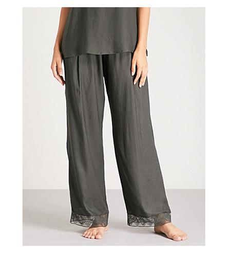 HANRO Liane lace-trimmed satin pyjama bottoms (Black+bean