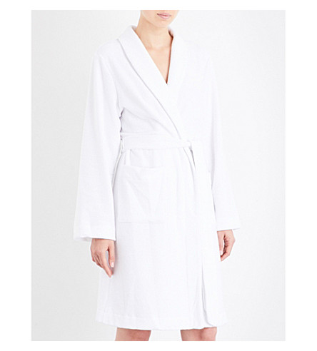 HANRO Plush towelling robe (White