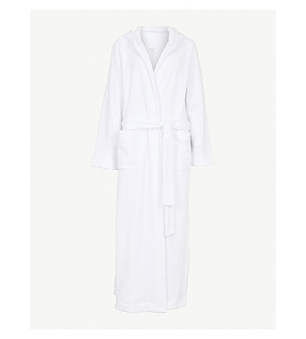 HANRO Hooded towelling dressing gown (White