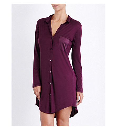 HANRO Grand Central long-sleeved jersey and stretch-silk nightshirt (Pomegranate