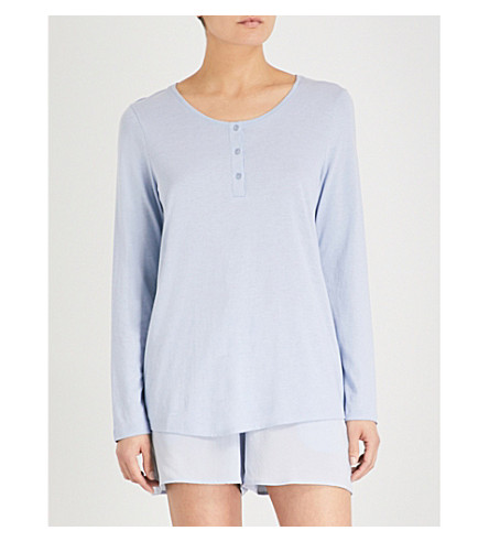 HANRO Long-sleeved cotton-blend top (Clean+blue