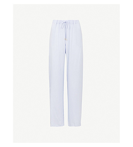 HANRO Relaxed-fit woven pyjama bottoms (Clean+blue