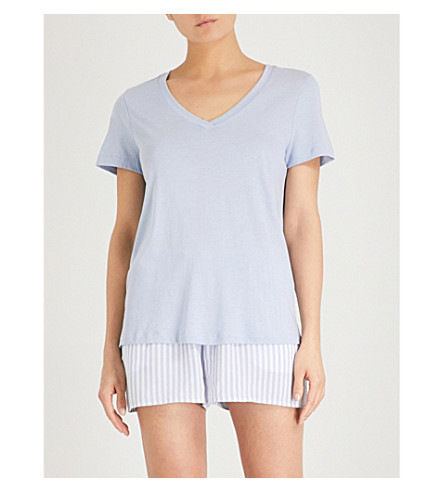 HANRO V-neck cotton-blend pyjama top (Clean+blue