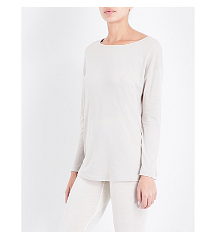 HANRO Long-sleeved cotton-jersey pyjama top (Moonlight