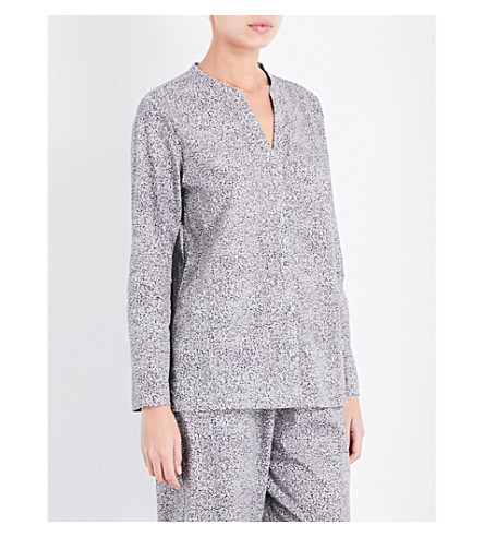 HANRO Long-sleeved cotton-jersey pyjama top (Microscope