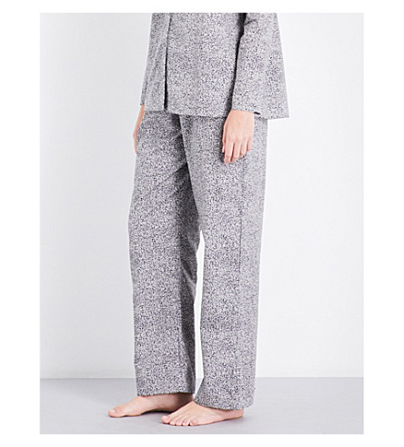 HANRO Straight cotton-jersey pyjama bottoms (Microscope