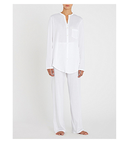 HANRO Deluxe cotton-jersey pyjama set (White