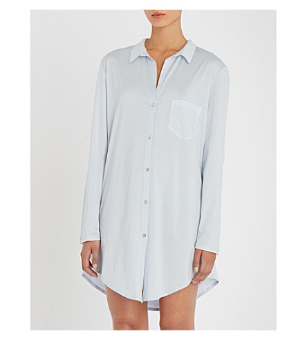 HANRO Deluxe cotton nightshirt (Blue+glow