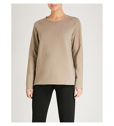 HANRO Round neck cotton-blend lounge sweatshirt (Khaki+reed
