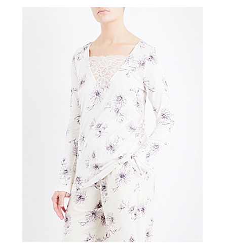 HANRO Camille jersey pyjama top (Fragil+flowers