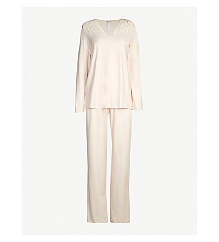 HANRO Moments cotton-jersey pyjama set (1334+crystal+pink