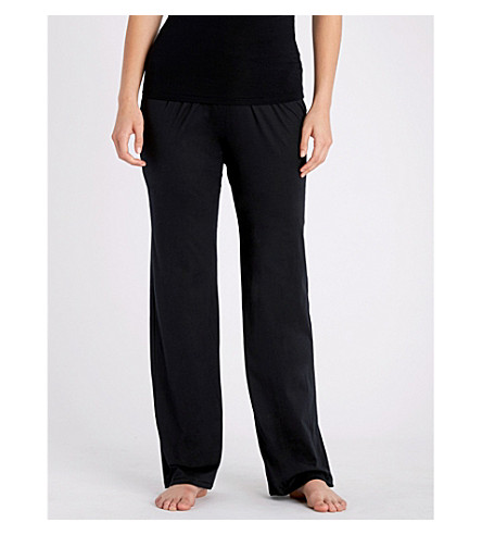 HANRO Deluxe cotton-jersey pyjama bottoms (Black