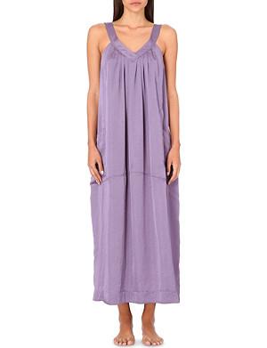 DONNA KARAN Long laundered satin nightgown