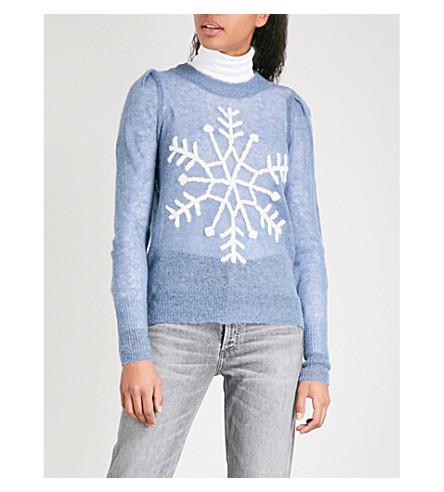 WILDFOX Snowflake wool-blend jumper (Night+run