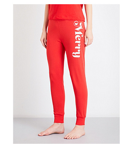 WILDFOX Merry cotton-jersey pyjama bottoms (Red+line