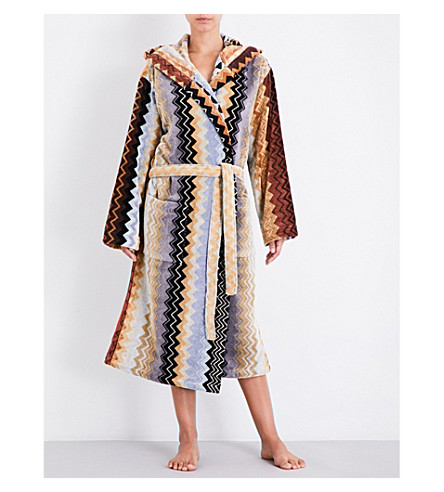 MISSONI HOME Chevron-knit cotton-towelling bathrobe (Multi+black