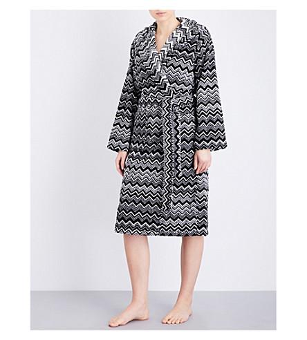 MISSONI HOME Chevron-patterned cotton-towelling robe (Black+white