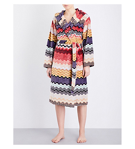 MISSONI HOME Wavy stripes cotton-towelling bathrobe (Red+multi