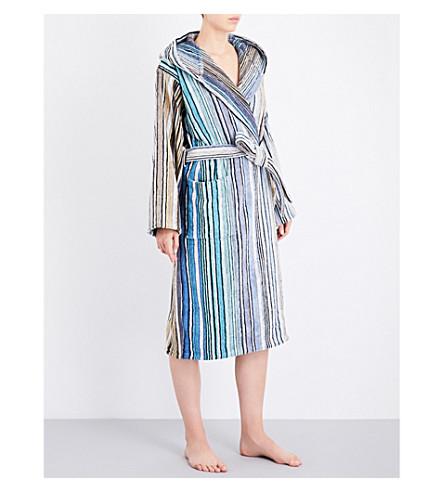 MISSONI HOME Striped cotton-towelling robe (Blue+stripe